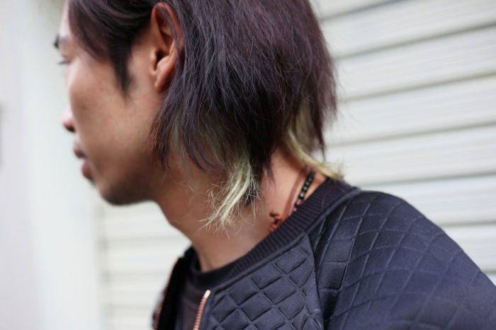 襟足長め × ダメージヘア